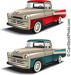 50s styles pickup - Vectorial icon set of American retro...