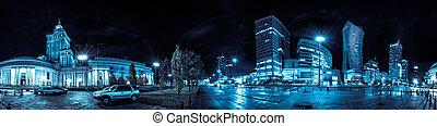 Gratte-ciel, moderne, Horizon, époque, nuit, soviétique, Varsovie