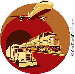 cargo transportation - Vectorial round vignette on theme of...