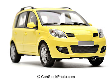 Generic modern yellow family car model on a white...