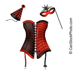 carnival corset with hat and mask - white background and the...