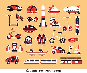 Transport - flat design icons set - Means of transport - set...