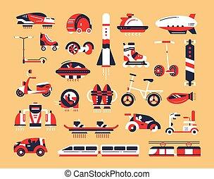 Transport - flat design icons set - Means of transport - set...