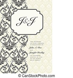 Vector Side Damask Frame with Initial Example - Vector...