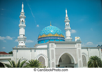 White Mosque in Kuala Lumpur on a sunnyday