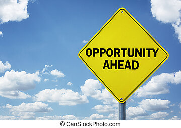 Opportunity ahead road sign concept for business...