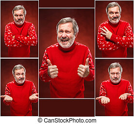 Elderly smiling man on a red background - Elderly smiling...