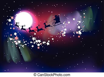 Flying Santa over Aurora Borealis - Silhouette of flying...