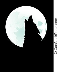 Wolf Howling at the Moon - Silhouette of the wolf howling at...