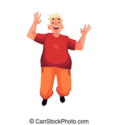 Young, happy fat man in casual clothing jumping happily,...
