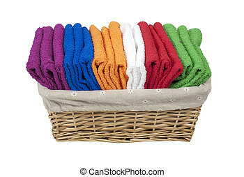 Folded Towels in a Lined Basket