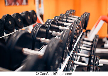 Image of iron dumbbells in two rows