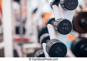 Dumbbells on a rack close-up in the gym