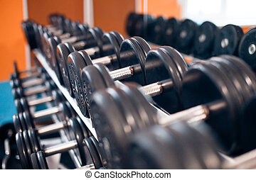 View of rows dumbbells on a rack in gym - View of rows...