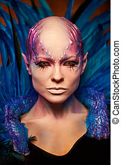 Creative makeup. Woman from space concept.