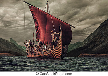 Group of vikings are floating on the sea on Drakkar with...