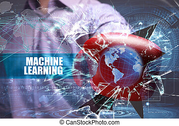 Business, Technology, Internet and network concept. Young businessman breaks the virtual future of the screen on which the inscription: machine learning