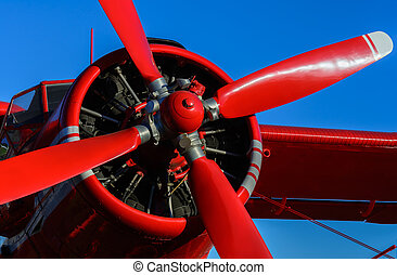 Red blade aircraft - Blade Red plane on a background of blue...