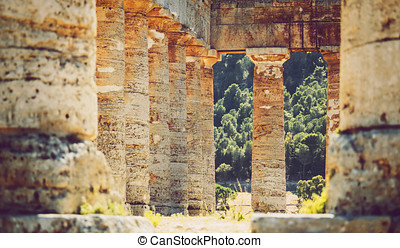 The famous temple of Segesta in Sicily, Italy