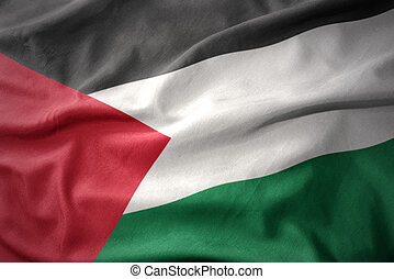 waving colorful flag of palestine. - waving colorful...