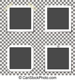 Vector set of photo frames on a transparent background attached in various ways.