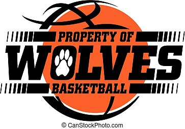 wolves basketball team design with ball for school, college...