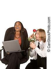 Love and flirt in business office on work place - Beautiful...
