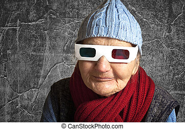 Elderly woman with anaglyph 3D glasses - Happy elderly woman...