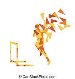 Man hurdles race male athlete competing vector abstract...