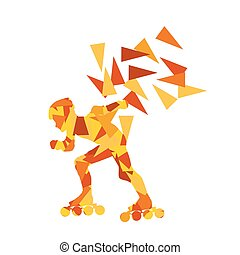 In line skating vector background abstract illustration made...
