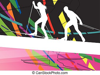 Active young woman and man skiing sport silhouettes in...