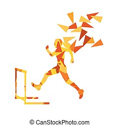Female hurdles race woman athlete competing vector abstract...