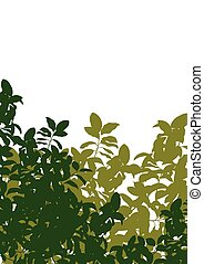 Green tree leaves detailed silhouette in nature background...