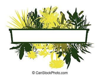 Jungle plant leaves silhouettes in detailed forest background concept vector