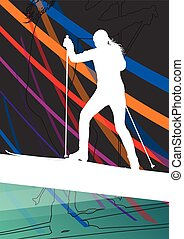 Active young women skiing sport silhouettes in winter...