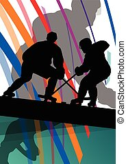 Hockey player sport silhouette vector abstract background...