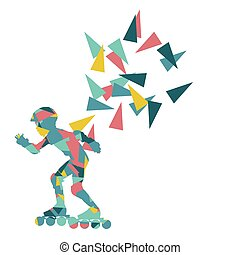 In line skating background abstract illustration made with...