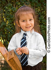 Young boy with long hair in white shirt and tie - Almost 3...