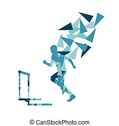 Man hurdles race male athlete competing abstract background...