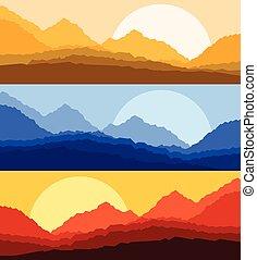 Desert sunset and sunrise landscape vector background