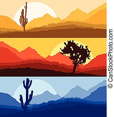 Cactus desert landscape vector background set with sunset