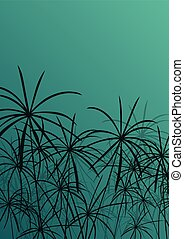 Paper reed detailed silhouettes in nature background vector