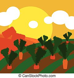Countryside illustration background with cultivated land...
