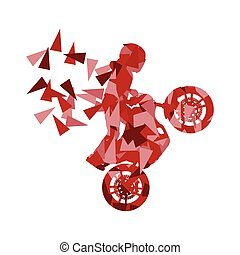 Motorcyclist performed extreme stunts driver vector abstract...