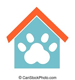 house mascot with footprint icon