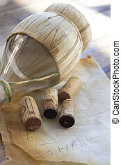 harvest concept with corks of aged wine