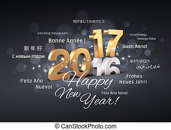International Greetings 2017 - Gold 2017 New Year type over...