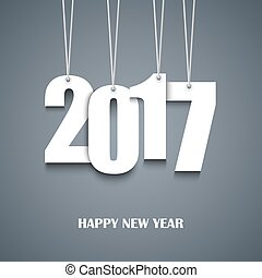 New Year card with hanging white numbers vector eps 10