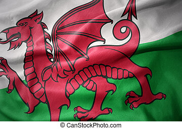 waving colorful flag of wales. - waving colorful national...