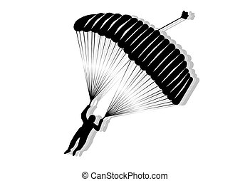Skydiver silhouette - Skydiver, silhouette parachuting...